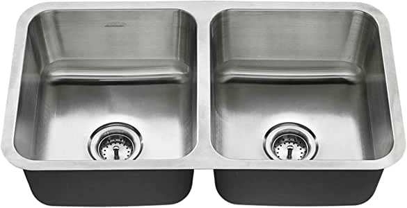 American Standard 18DB.9321800T.075 Undermount 32x18 Double Bowl Sink, Stainless Steel