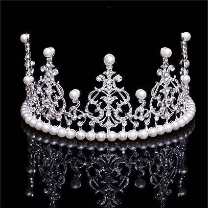 Amazon.com: fumud Pearl coronas Tiaras novia boda novia ...
