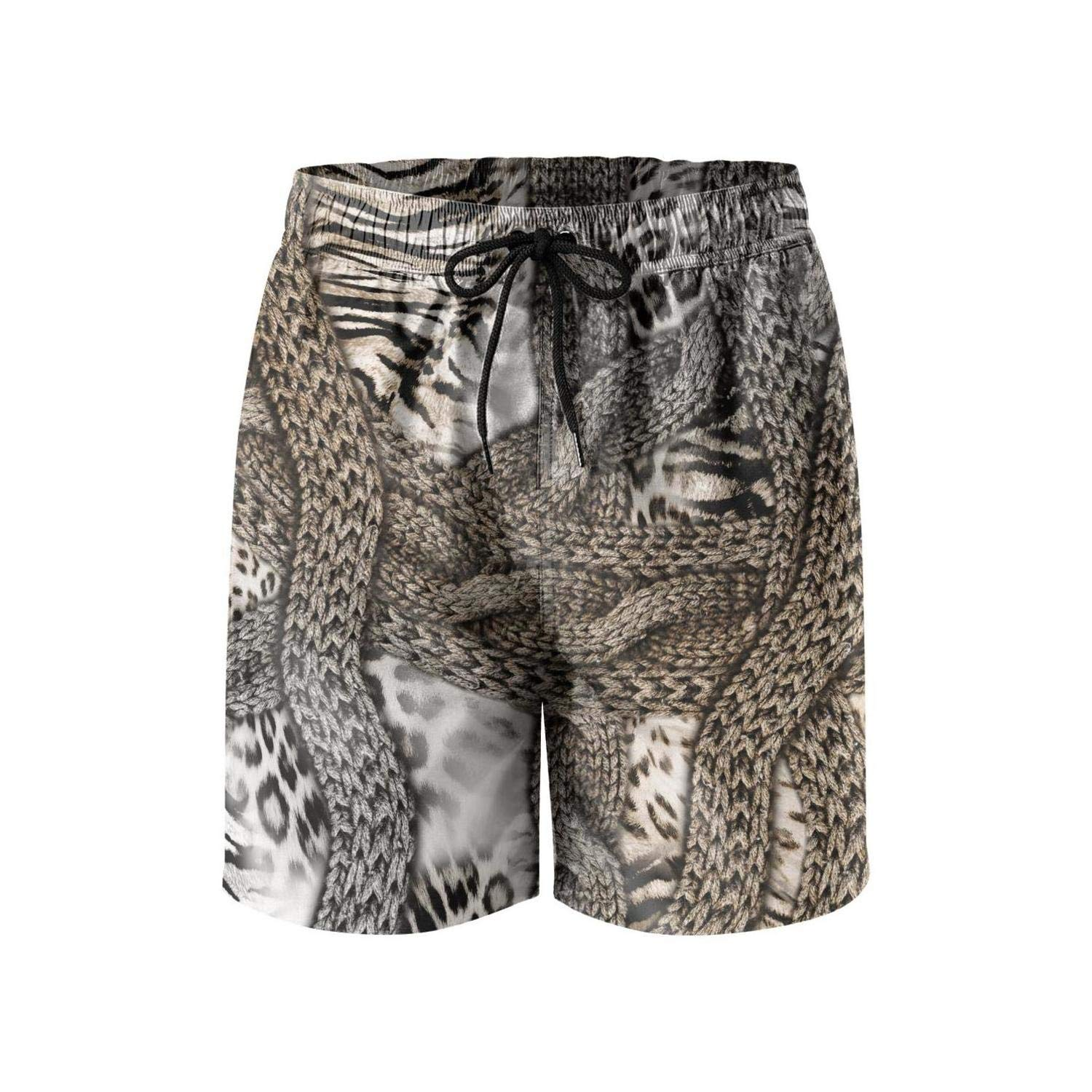 Mans Casual Shorts Snakeskin and Leopard Swimming Trunks Quick Dry Shorts