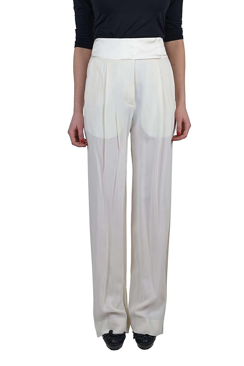 "Maison Martin Margiela ""Eased Shape"" Women's White Pleated Wool Pants US 4 IT 40"