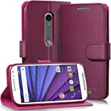 Vena vSuit Draw Bench PU Leather Wallet Flip Stand coque w/ Card Pockets pour Motorola Moto G (3rd Gen, 2015) (Burgundy Red)