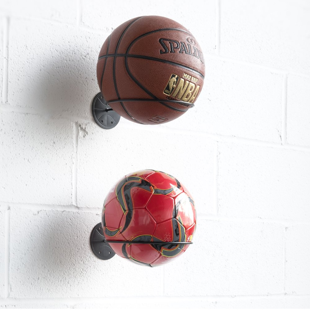 Wallniture Wall Mount Sports Ball Holder Display Storage Steel Black Set of 2 by Wallniture (Image #3)