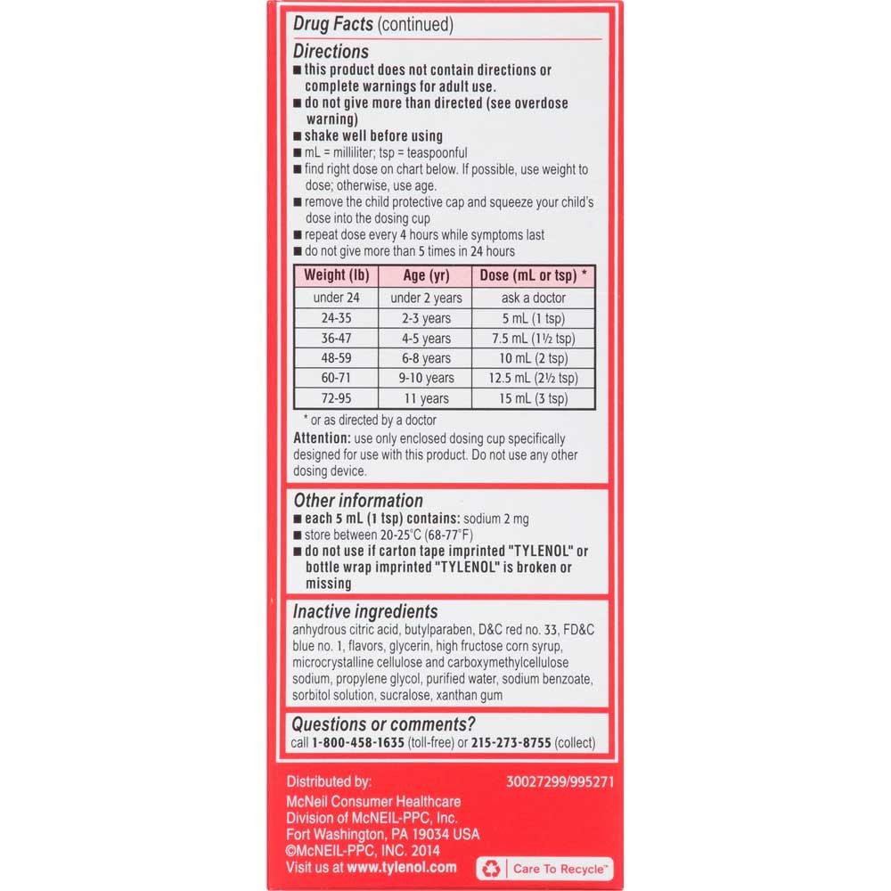 Childrens Tylenol Pain plus Fever Age 2-11 Grape Flavor Liquid 4 fl. oz. Box -- 36 per case.