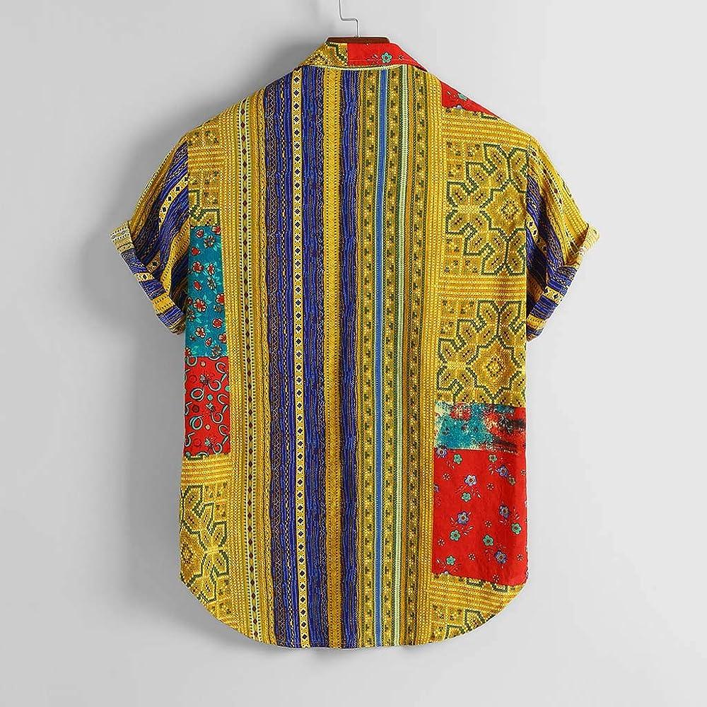 Camisa Manga Corta Hombre Hawaiana Casual Étnico Vintage Estampado Hawaii Camisas Cuello Vuelto Botones Camisetas Blusa Polos Shirt Bolsillo Playa Ropa: Amazon.es: Ropa y accesorios