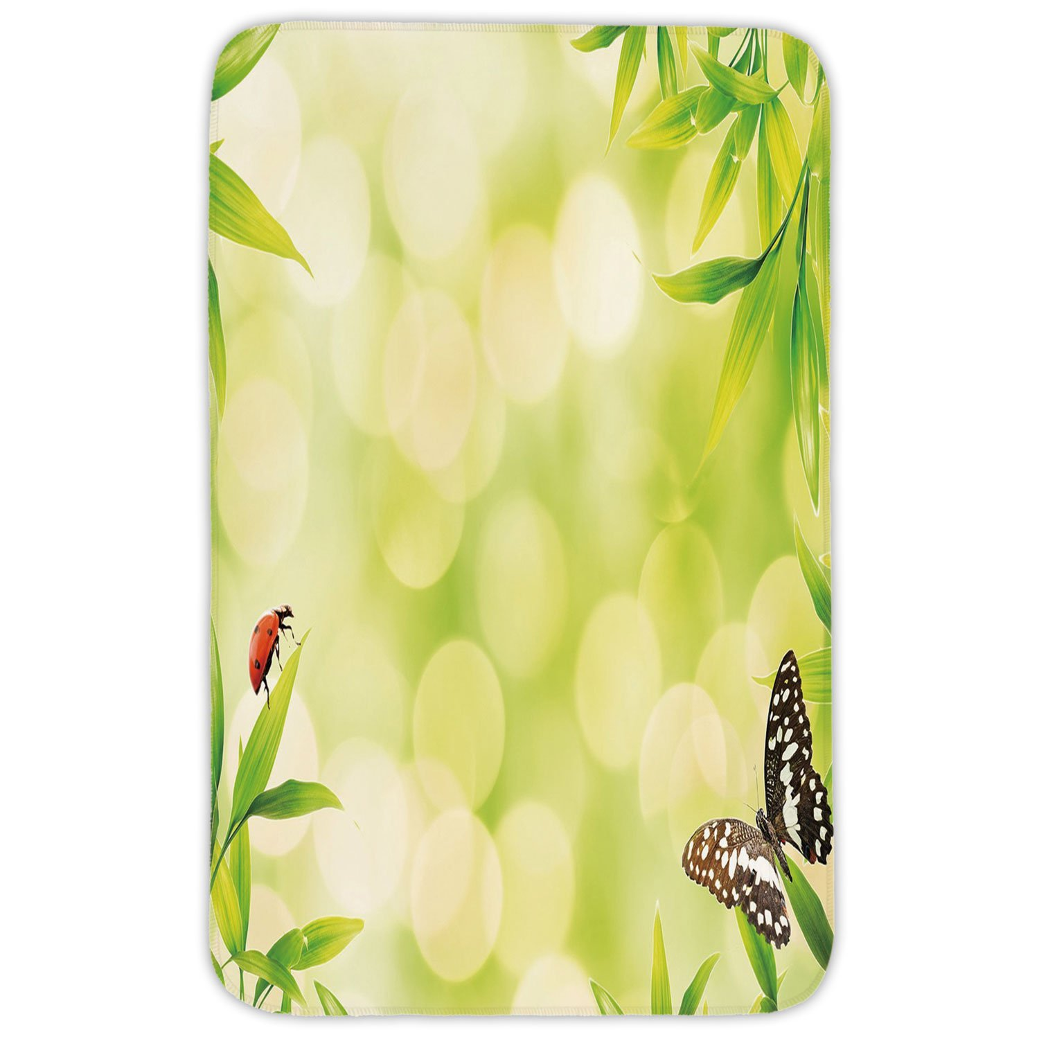 Rectangular Area Rug Mat Rug,Plant,Ladybug and a Butterfly Standing on a Bamboo Leaves Bokeh Background Decorative,Light Green Multicolor,Home Decor Mat with Non Slip Backing