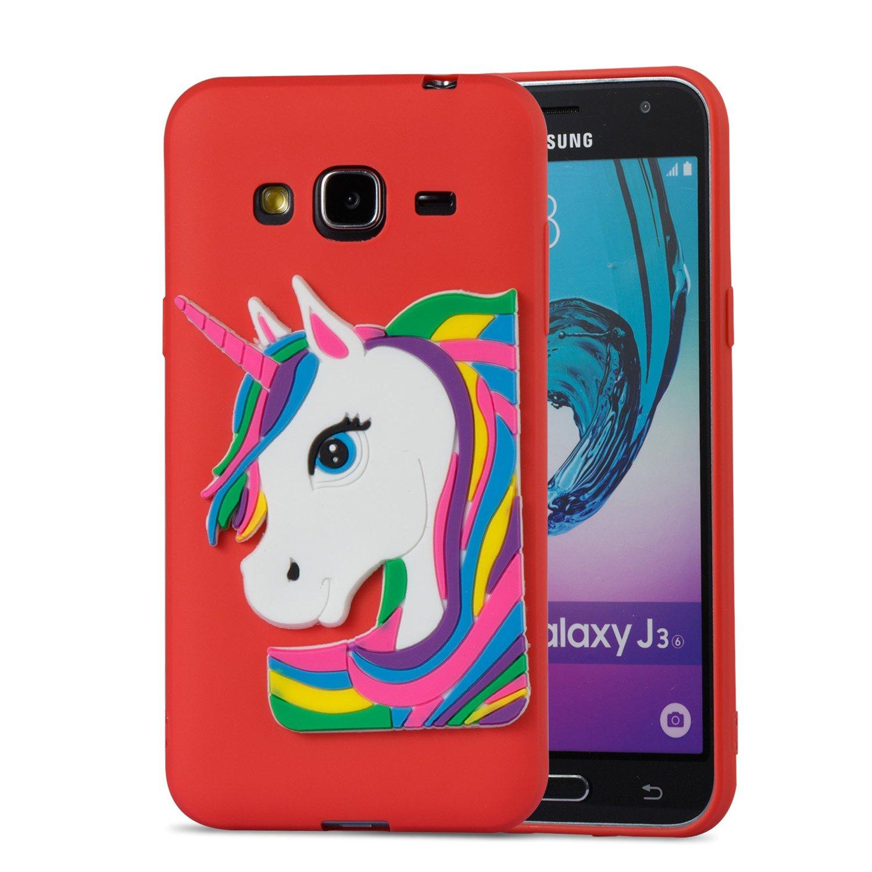 489681d6171 Galaxy J3 funda, j3 V carcasa, Galaxy cielo, Galaxy sol, J3 V, DAMONDY 3d  Unicorn lindo patrón de dibujos animados suave silicona Gel diseño delgado  de goma ...