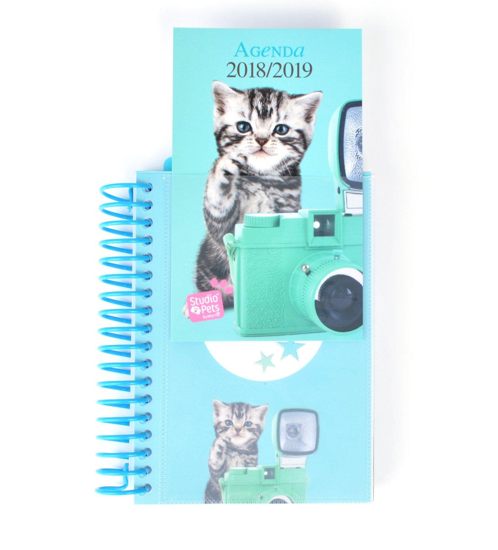 Grupo Erik Editores Studio Pets - Agenda escolar con espiral en español con diseño gato, 11.4 x 16 cm