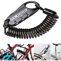Mini antivol portable pour vélo Bestfire ET-152, fermeture à code personnalisable 3 chiffres, câble spirale, sécurise casque et bagages, Noir