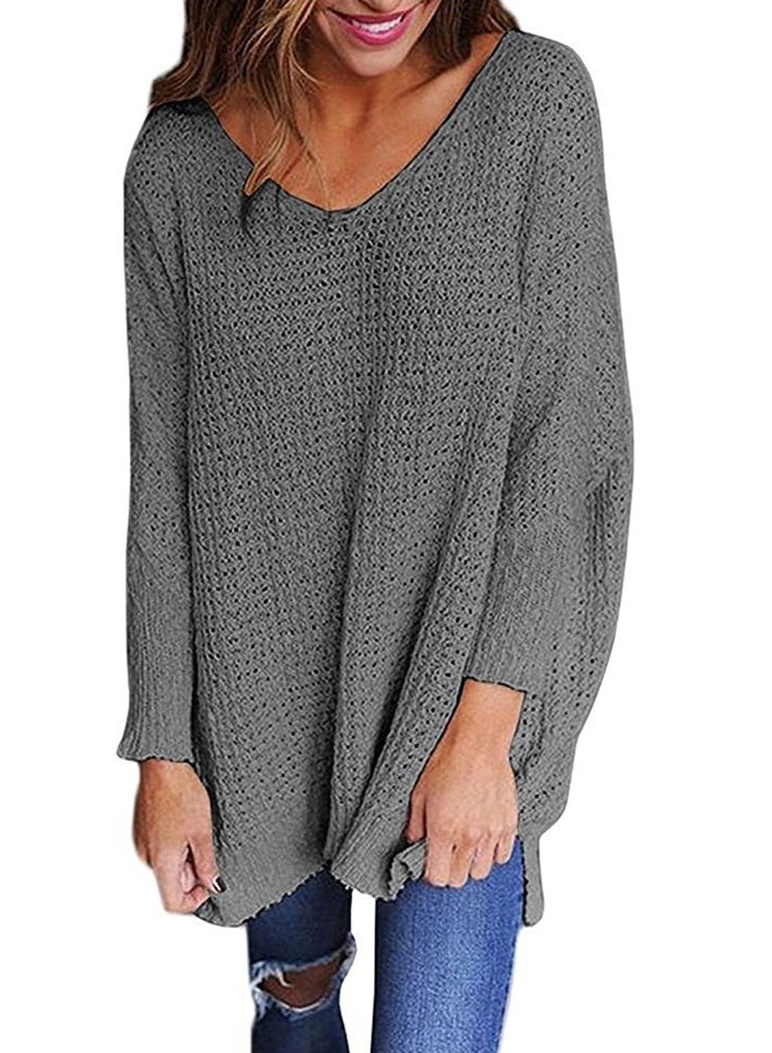 Dearlove Women's Long Sleeve Oversized Sweaters V Neck Loose Knit Pullover Tops Casual Jumper Shirts Solid Grey Small