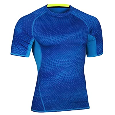ARRIVE GUIDE Mens Short Sleeve Base Layer Fitness Sport Gym Training Comfort Running Wicking Breathable Compression Quick Dry Shirt Tops