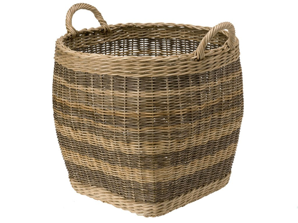 KOUBOO Striped Wicker Storage Basket, Small - Diameter 18 inches x 16 inches high (18.75 Inches with handles) Hand woven from wicker Perfect to store bed covers, pillows, toys, fire logs, gift wrap paper rolls or as a cachepot for large indoor plants - living-room-decor, living-room, baskets-storage - 71GOYhaqsYL -