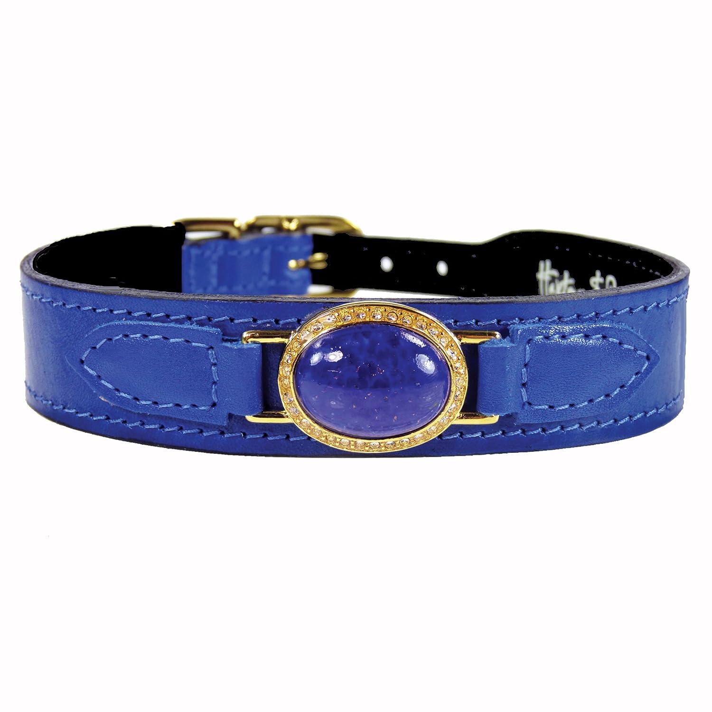 Hartman & pink Estate Dog Collar, 10 to 12-Inch, Lapis Cobalt bluee