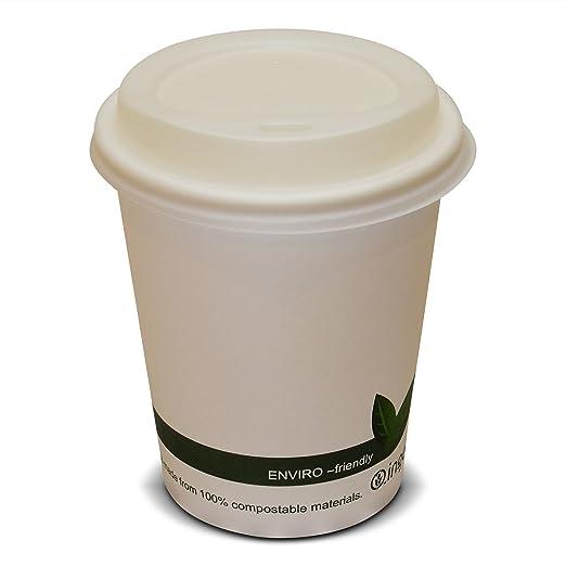 50 tazas de café desechables de papel biodegradable y compostable ...
