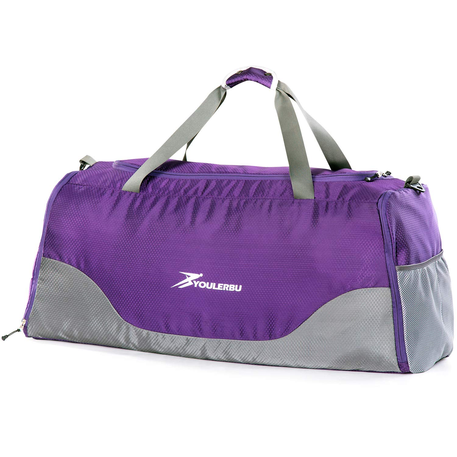 YOULERBU 70L Large Foldable Duffel Bag With Wet Pocket, Gym Bag With Shoes Compartment For Men & Women
