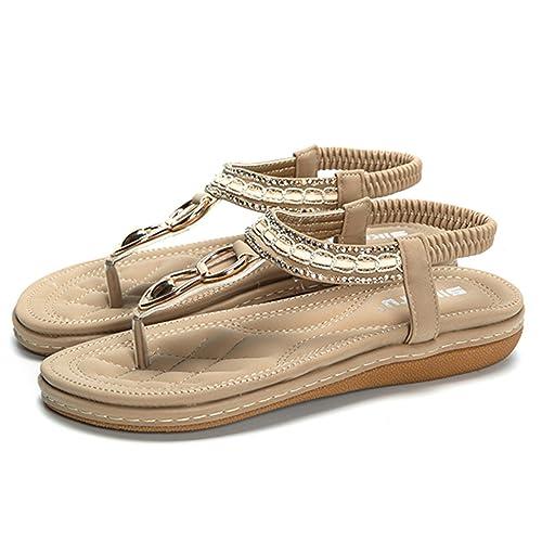 8fbefd08c23c Gracosy Damen Sandalen, Flip Flops Sandale Flach Zehentrenner Böhmischer  Stil T-Strap (Hersteller