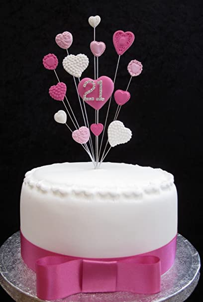 21st Birthday Cake Topper Pinks And White Hearts Suitable For A Small Or Cupcake PLUS 1 X Metre 25mm Hot Pink Satin Ribbon With Bow Amazoncouk