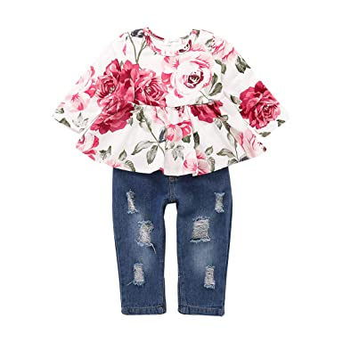 9f0590f50c36 NZRVAWS Baby Clothing Girls Long Sleeve Floral Tops Red Flowers Ruffle Shirt  Ripped Jeans Denim Pants