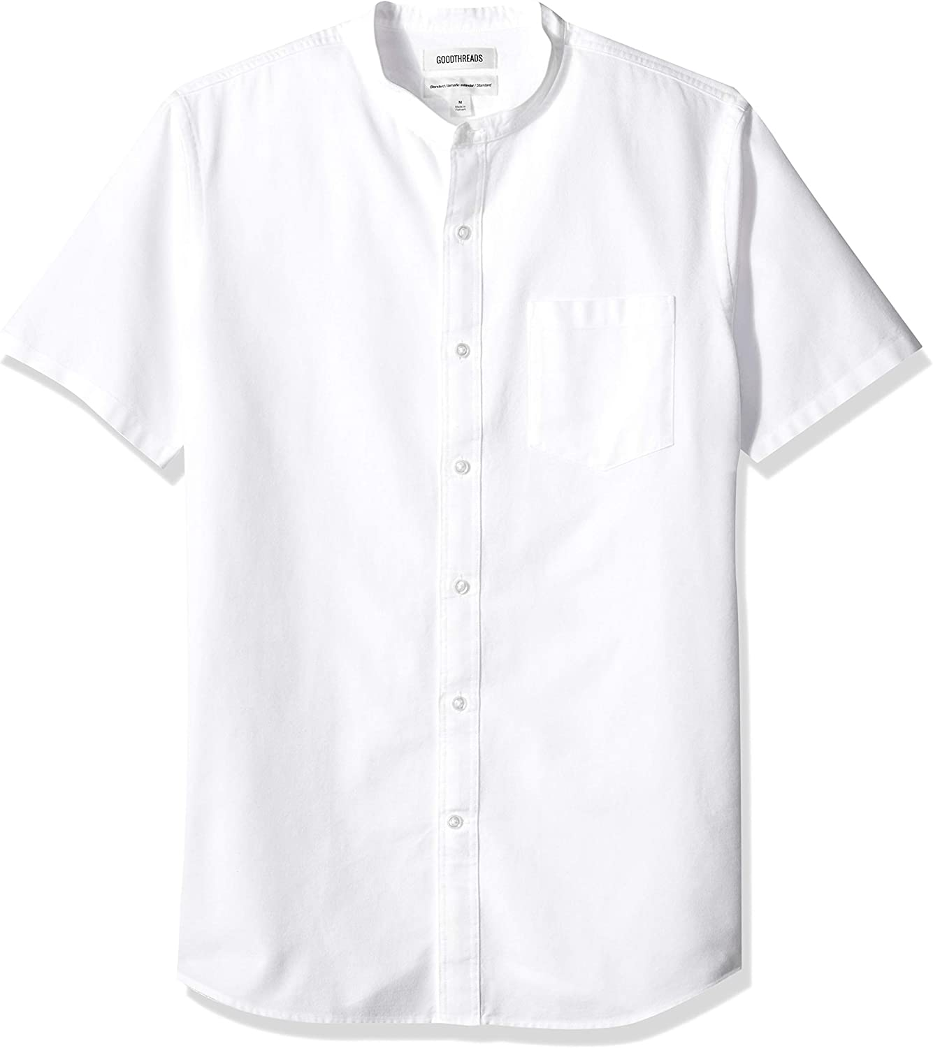 Marca Amazon - Goodthreads Standard-fit Short-sleeve Band-collar Oxford - Camisa Hombre