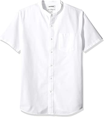 Marca Amazon - Goodthreads Standard-fit Short-sleeve Band-collar Oxford - Camisa Hombre: Amazon.es: Ropa y accesorios