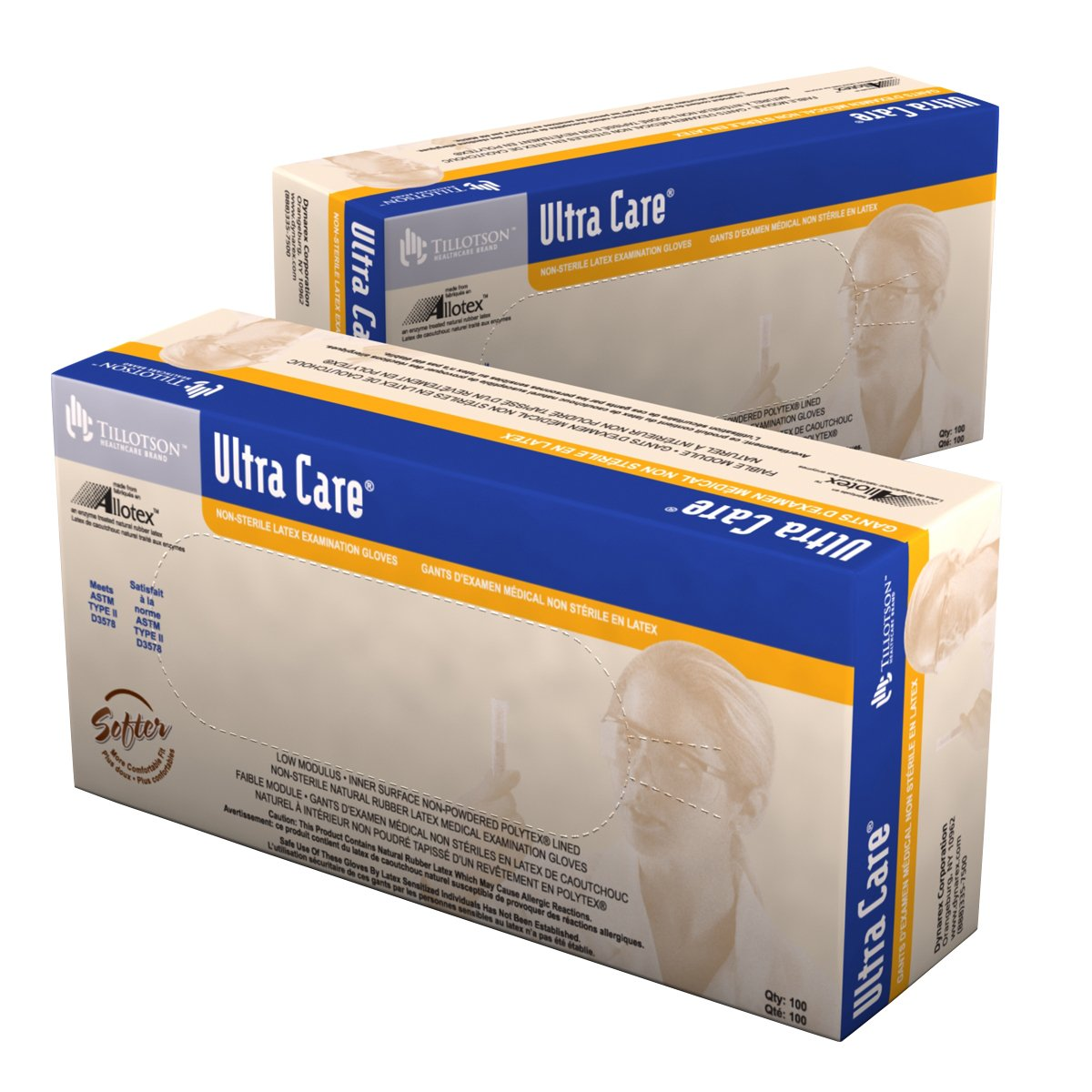 Dynarex Ultra Care Latex Exam Gloves Non-Sterile, Large, 10 Count