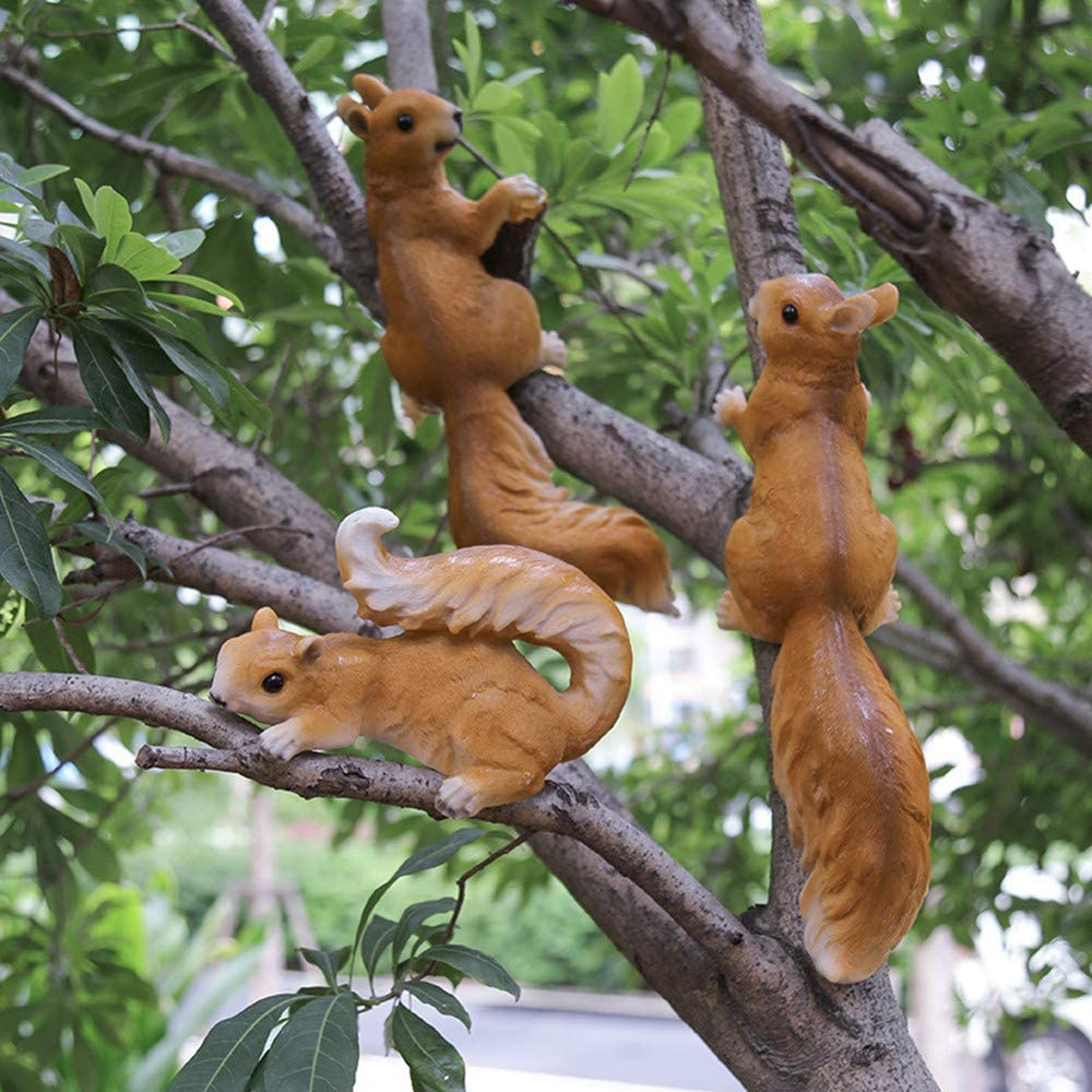 HOMERRY Garden Statues and Figurines: Set of 3 Squirrel Woodland Decor Hanging Garden Statue Tree Hugger