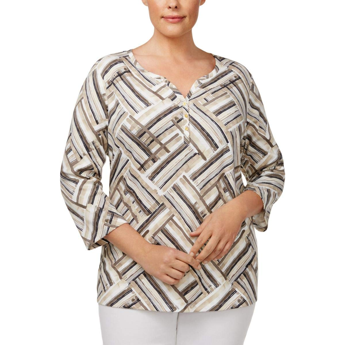 Karen Scott Womens Plus Printed 3/4 Sleeves Henley Top