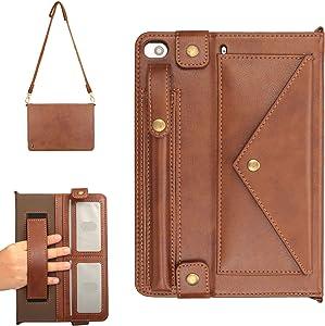 APOLL iPad Mini 5 Case with Pencil Holder, iPad Mini 1/2/3/4 Case, PU Leather Auto Wake Sleep Stand Hand Strap Shoulder Strap Handbag Case for iPad Mini 5th/4th/3rd/2nd/1st Generation 7.9