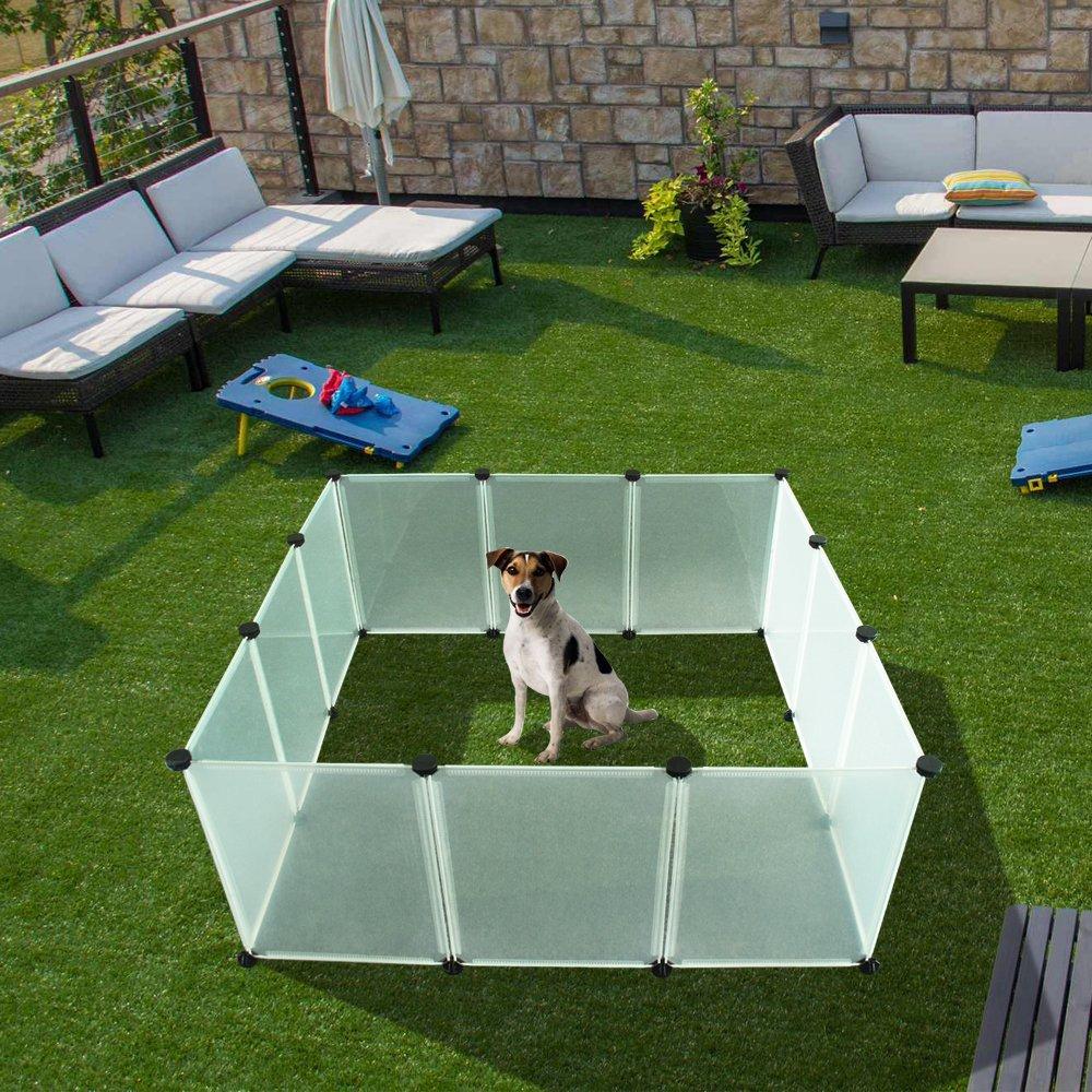 EXPAWLORER 子犬 用 ベビーサークルペット - プラスチック屋内庭 フェンス、耐久性と大容量を12枚透明パネルと小動物 用 18