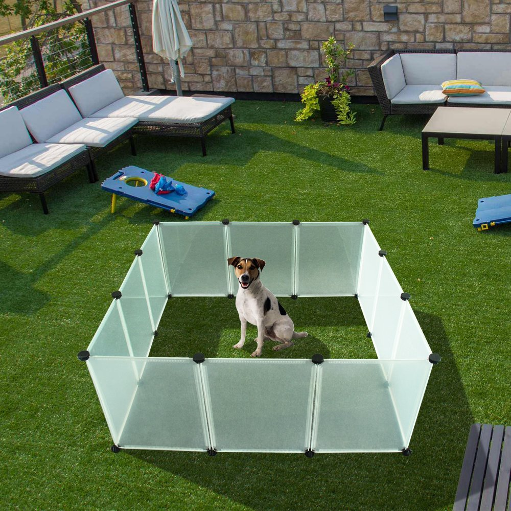 EXPAWLORER Pet Playpen for Puppy - Plastic Indoor Yard Fence Durable and Large Space for Small Animals with 12 pcs Transparent Panels by EXPAWLORER