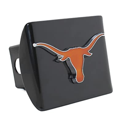AMG Auto Emblems University of Texas Longhorns Metal Premium 3D Translucent Emblem on Black Metal Hitch Cover: Automotive