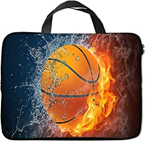 Britimes Laptop Sleeve Case Protection Bag Waterproof Neoprene PC Cover Water Resistant Notebook Handle Carrying Computer Protector Basketball Fire 11 12 13 inches