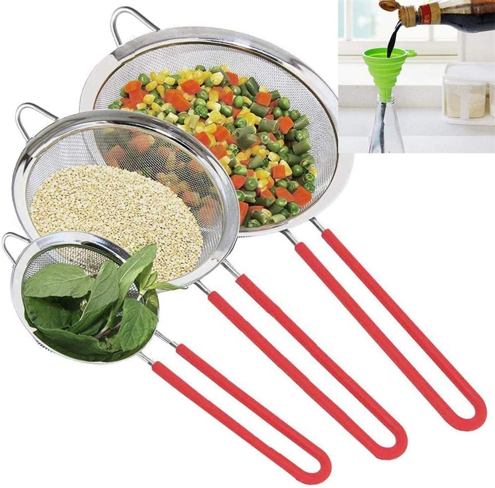 Free Bonus Silicone Foldable Funnel for kitchen Tea Coffee Powder Fry Juice Vegetable Fruit 3 Pack Fine Mesh Strainer Stainless Steel Colander Sieve for Baking Sifters with Sturdy Silicone Handle
