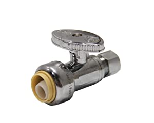 EFIELD Höger Push Fit 1/4 Turn Straight Stop Valve Water Shut Off 1/2 Push x 3/8 Inch Compression Chrome (1)