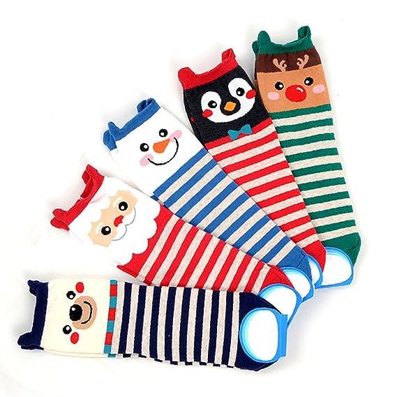 SYGoodBUY 5 pares,Mujer Calcetines Cortos,Dibujo de Cartón,Navidad,Estilo Lindo