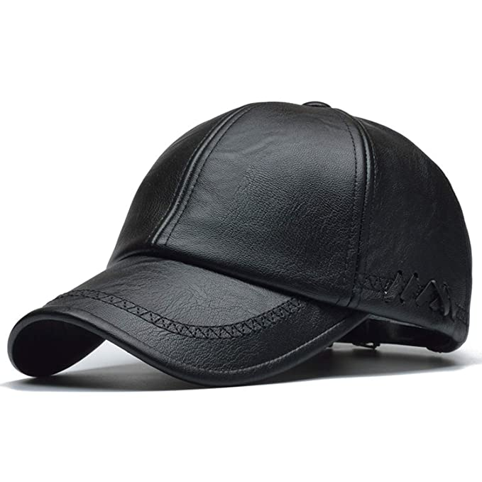 GordonKo Men Solid Winter Pu Leather Baseball Caps Brand Snapback Hat  Fitted Hats Black 2da05576a912