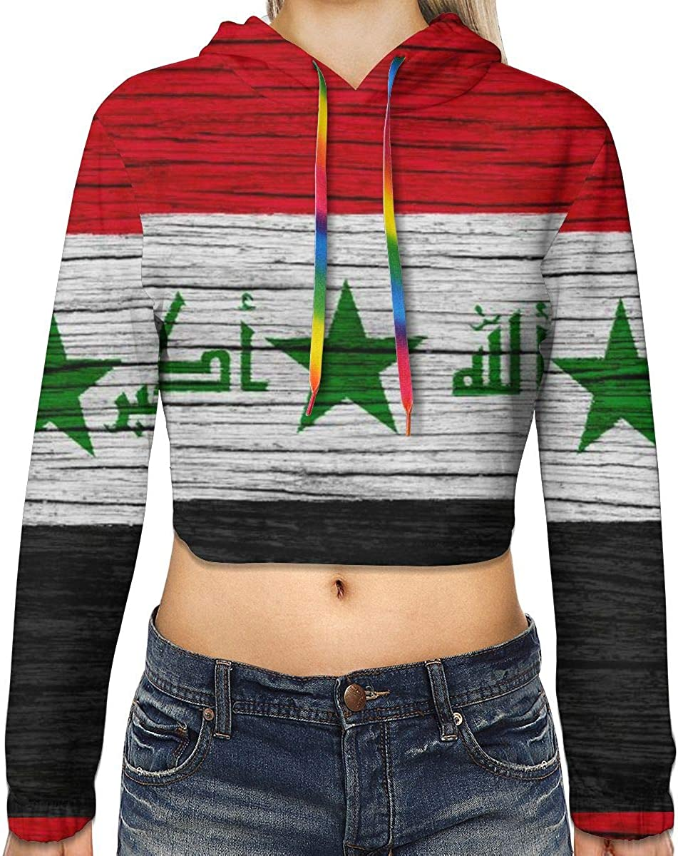 Iraq Wooden Texture Iraqi Flag Women Sweatshirt Casual Hoodie Tshirt T Hoodies Cropped Crop Tops