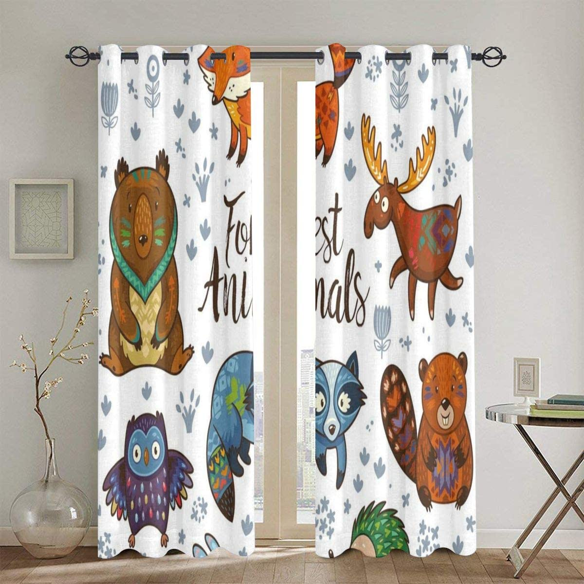 Curtains Woodland Animals Tribal Nature Elements Kids Room Nursery Themed Art Print 2 Panel Set Living Room Bedroom Window Drapes Amazon Co Uk Kitchen Home