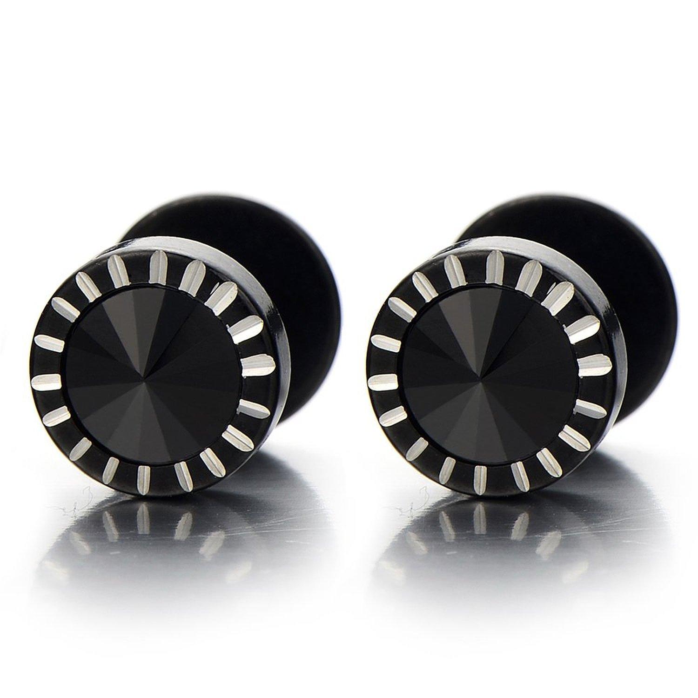 1 Pair 3-8MM Mens Black Cubic Zirconia Stud Earrings Stainless Steel Screw Back Post(CA) 2pcs COOLSTEELANDBEYOND ME-192-CA