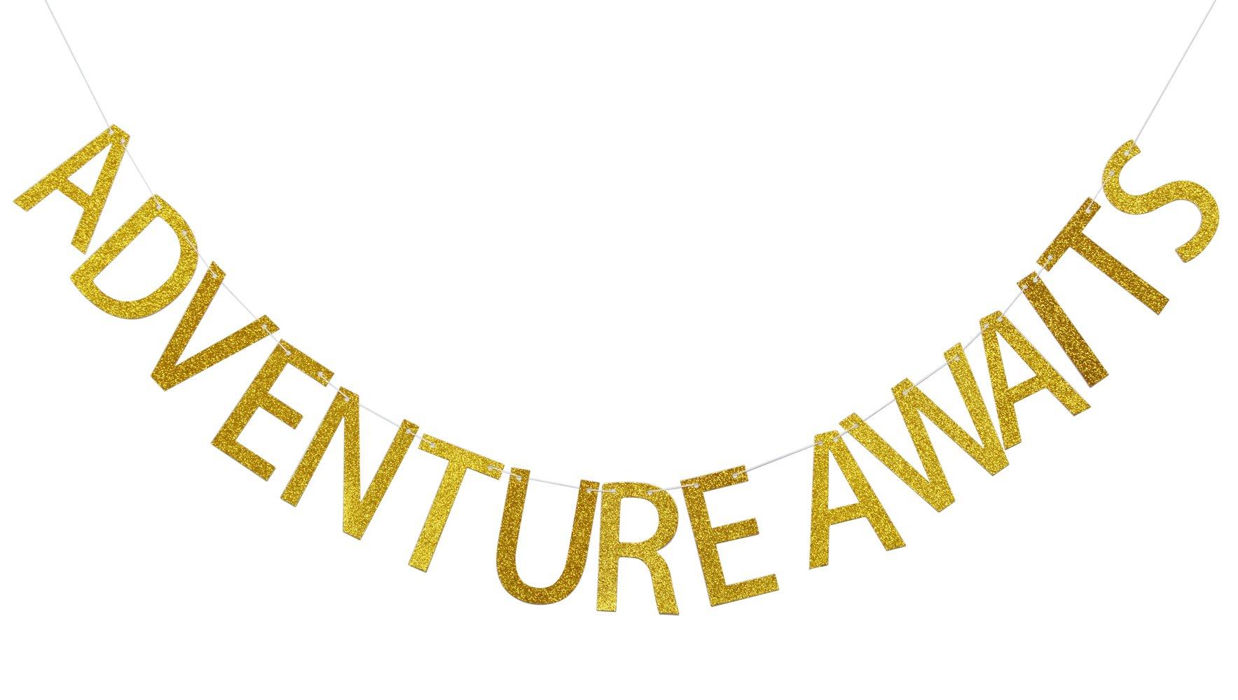 Adventure Awaits Gold Glitter Banner, Baby Shower Banner, Graduation Sign, High School Graduation College Grad Decor (Gold)