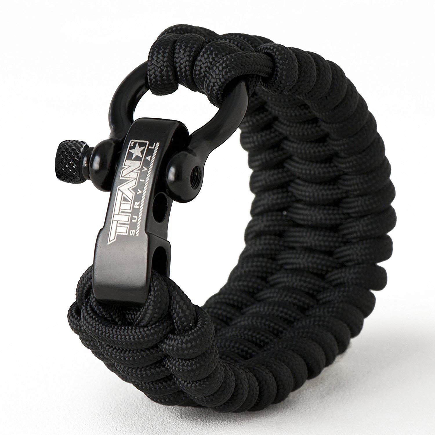 Titan Paracord Survival Bracelet | Black | Small (Fits 6'' - 7'' Wrist) | Made with Authentic Patented SurvivorCord (550 Paracord, Fishing line, Snare Wire, and Waxed Jute for Fires).
