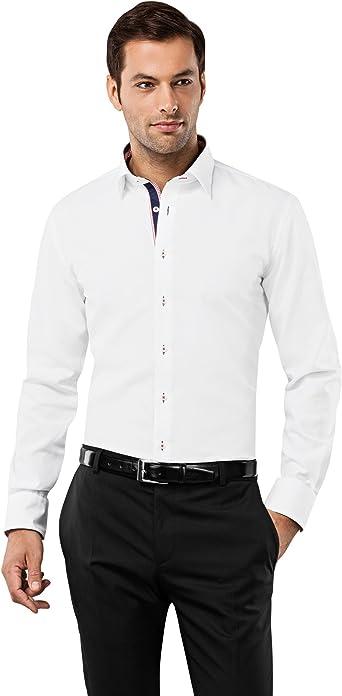 Vincenzo Boretti Camisa Hombre Blanco/Burdeos 37/38 cm (14.5/15