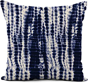 rouihot Linen Throw Pillow Cover Watercolor Shibori Indigo Blue Tie Dye Pattern Navy Water Home Decor Pillowcase 18x18 Inch Cushion Cover for Sofa Couch Bed and Car