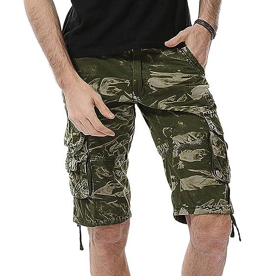 AnyuA Hombre Pantalones Cortos Casuales de Hip Hop Multi Bolsillos Verde  29  Amazon.es  Ropa y accesorios 20de9dd82dc