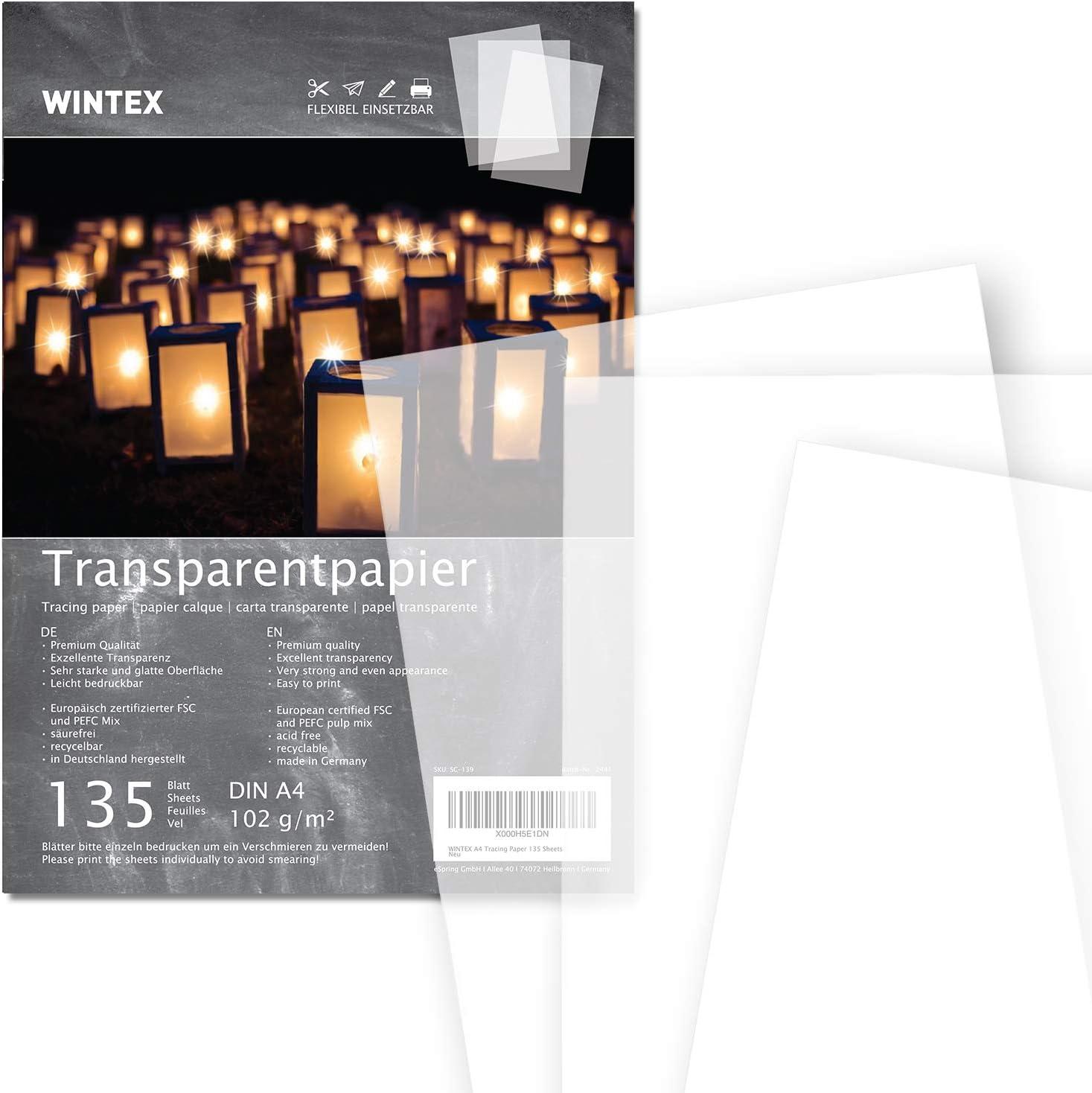 WINTEX 135 hojas de papel transparente DIN A4 102 g/qm super calidad