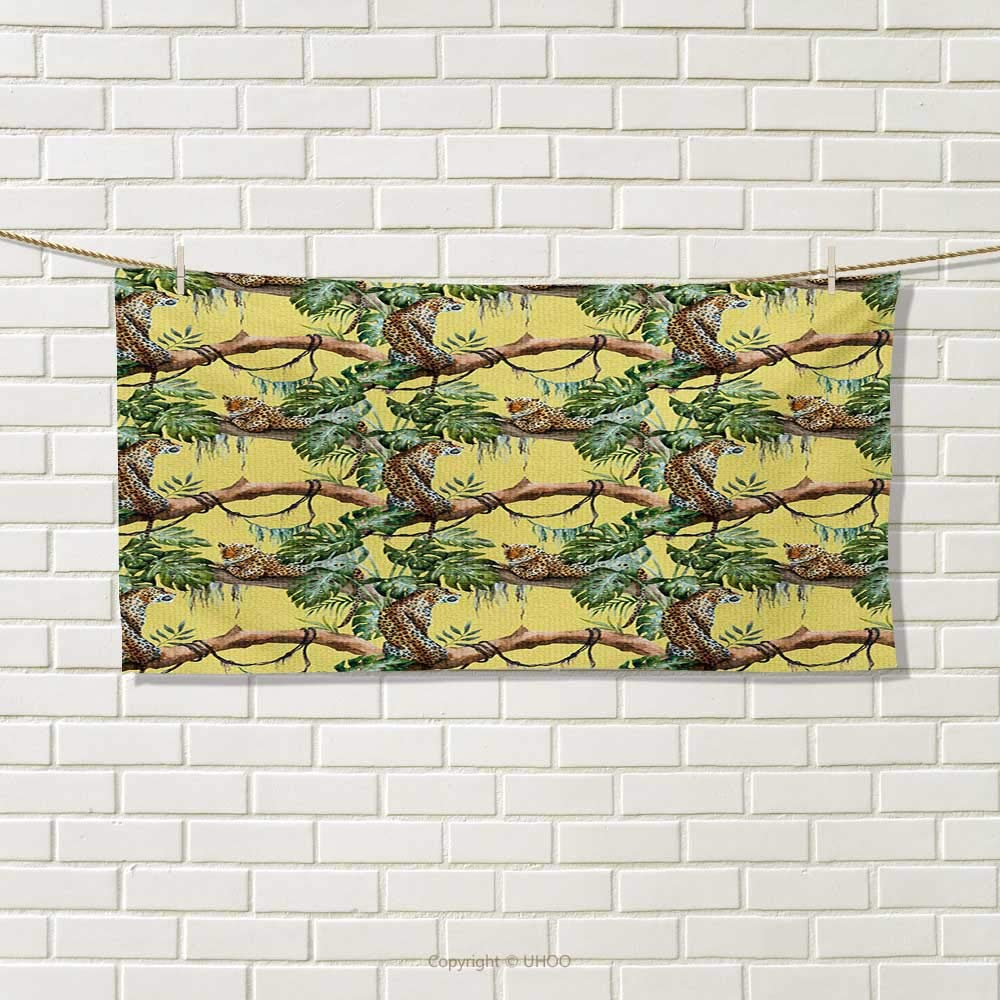Chaneyhouse Watercolor,Travel Towel,Leopards in The Jungle Tropical Scene Tree Branches and Leaves,Quick-Dry Towels,Yellow Green Pale Yellow Size: W 14'' x L 27.5''