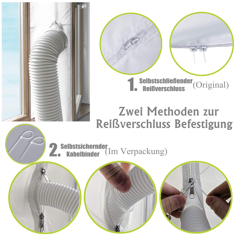 sistemas de aire acondicionado 400 cm Plata Junta para ventanas para dispositivos de climatizaci/ón m/óviles ANK-SNL para colocar en ventanas universales