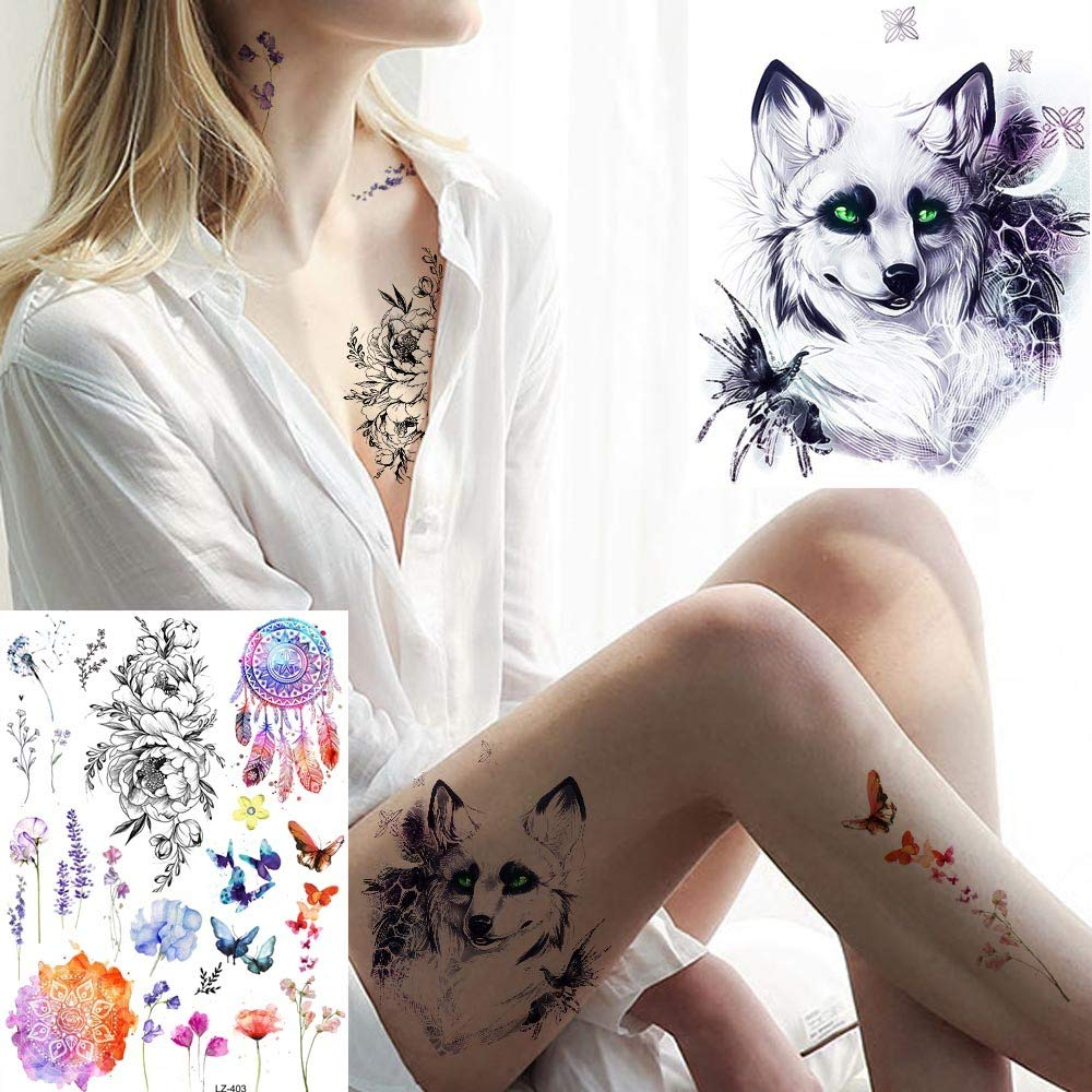 MRKAL Tatuaje Falso Tatuaje Mujeres Flores Etiqueta Engomada del ...
