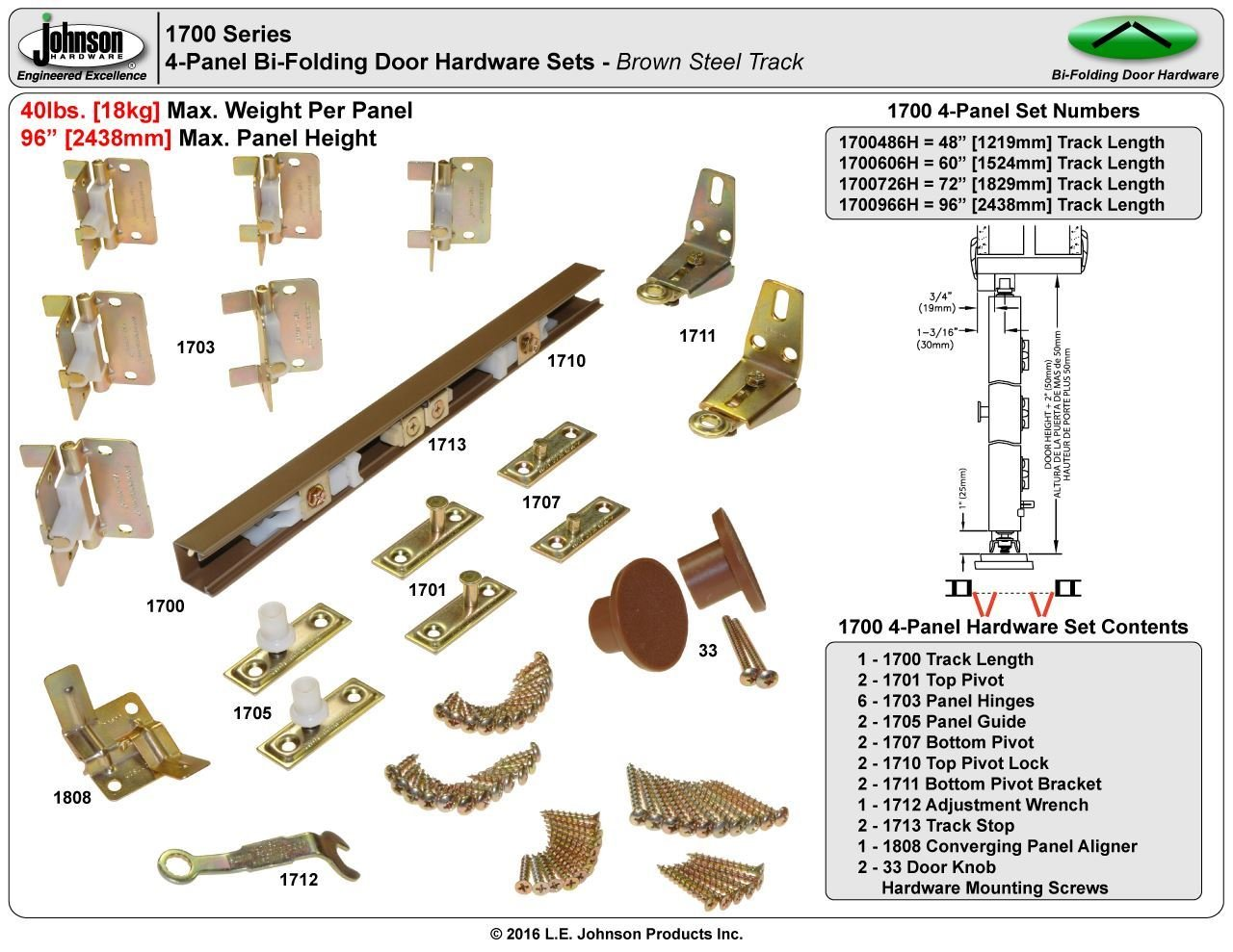 Johnson 1700 Door Hardware Set, 15 X 4 in W Panel, For Use With 3/4 - 1-3/4 in Door Thickness
