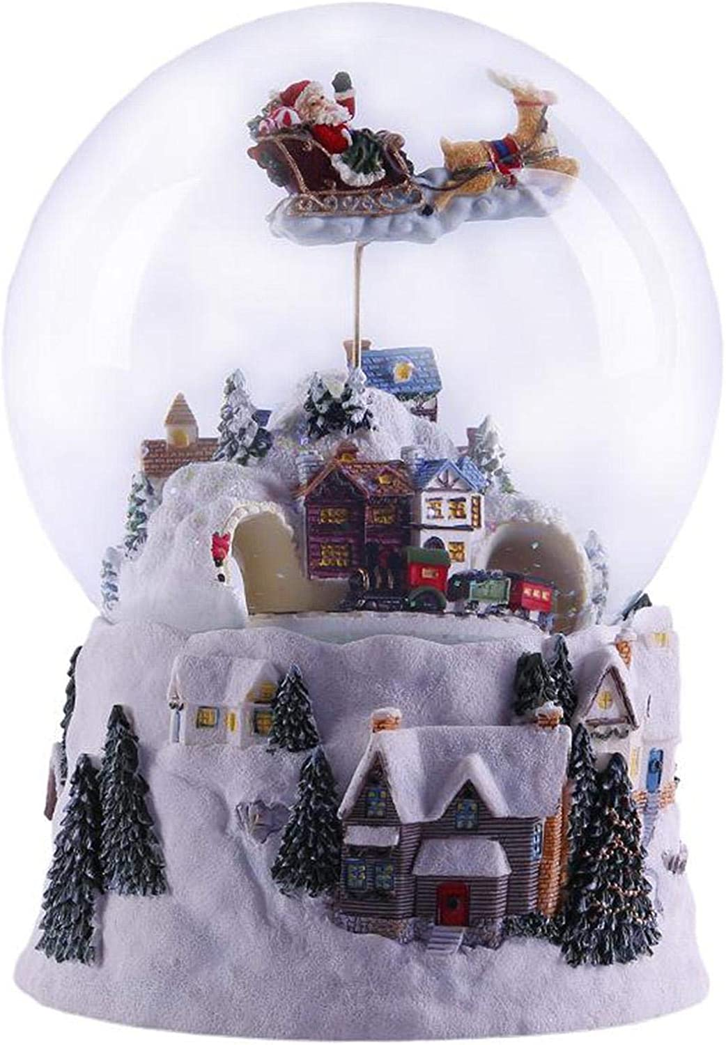courti Glitterdomes Snow Globe,Musical Rotating Santa Claus with Train Christmas Snow Globe,Santa Flying Over Village Snow Globe Christmas Birthday Gifts for Kids Boys and Girls