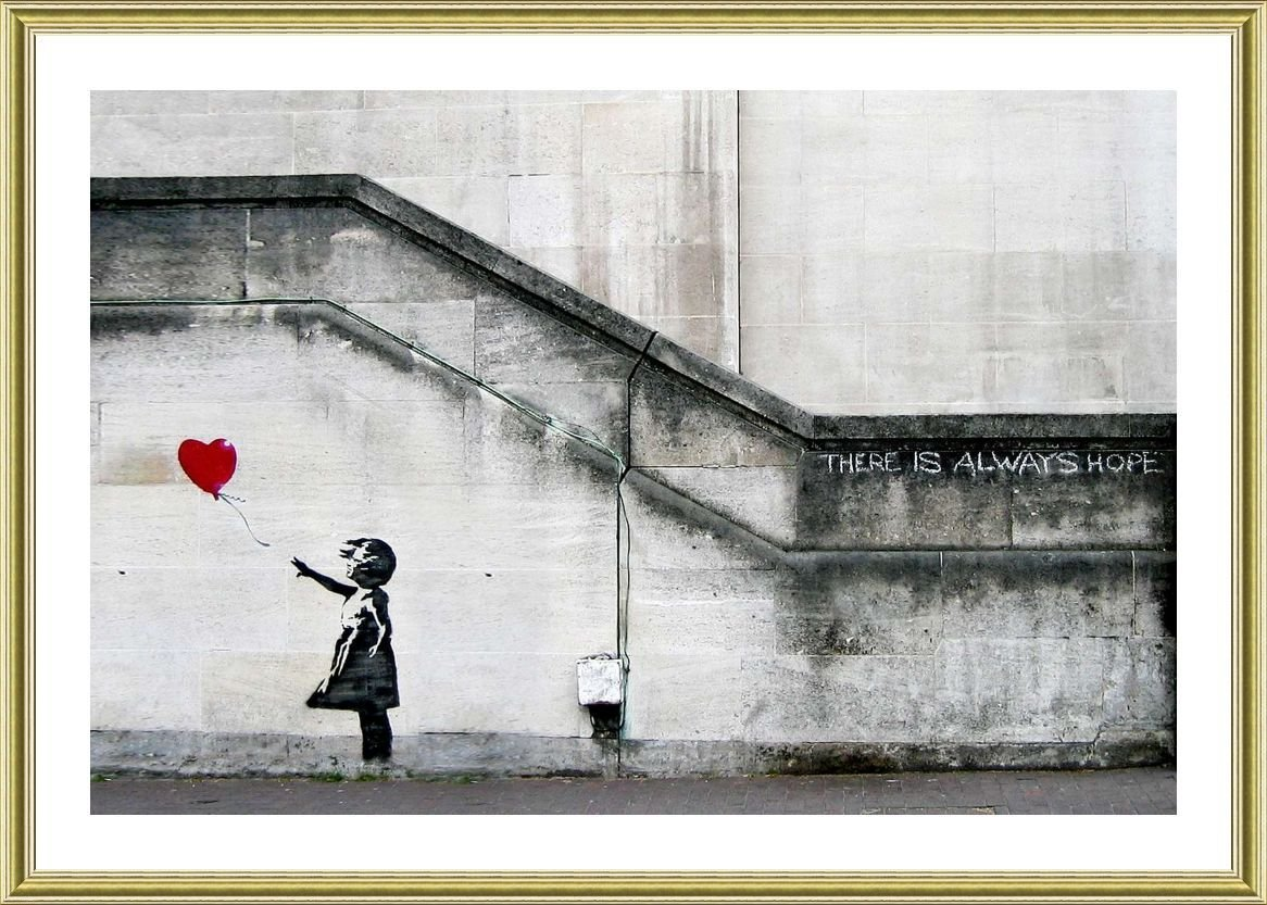 Alonline Art - There Is Always Hope by Banksy | Gold framed picture printed on 100% cotton canvas, attached to the foam board | Ready to hang frame | 29x20 | Wall art home decor for bedroom paint Alonline Art Studio